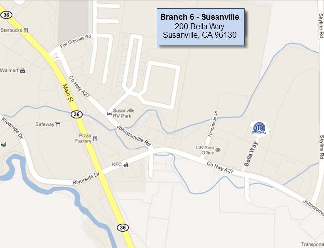 Susanville branch map